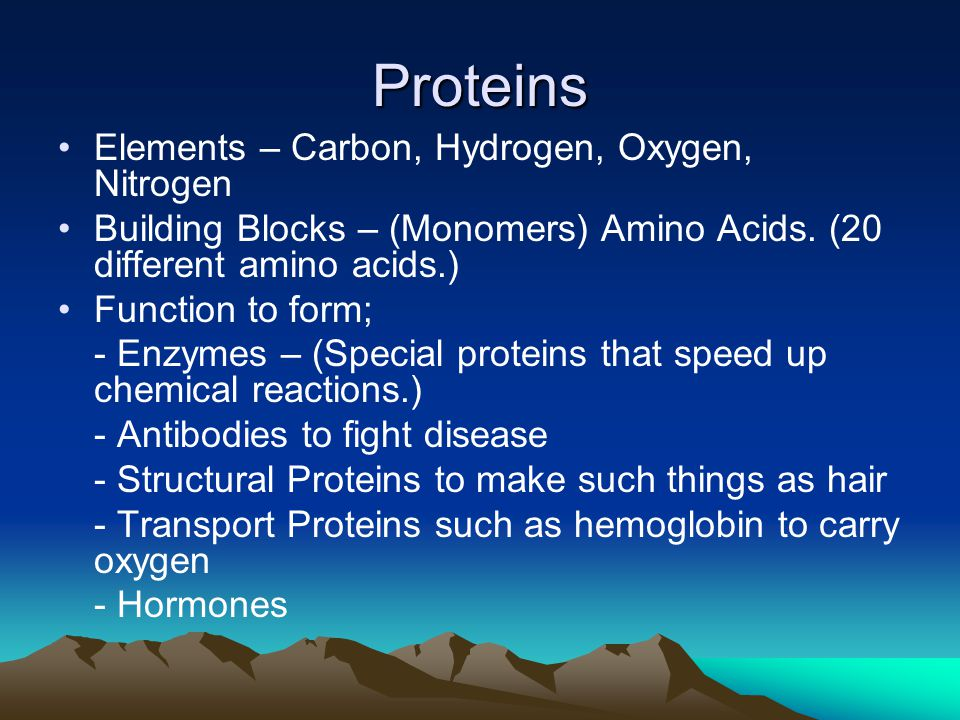 Proteins Elements – Carbon, Hydrogen, Oxygen, Nitrogen Building Blocks – (Monomers) Amino Acids.