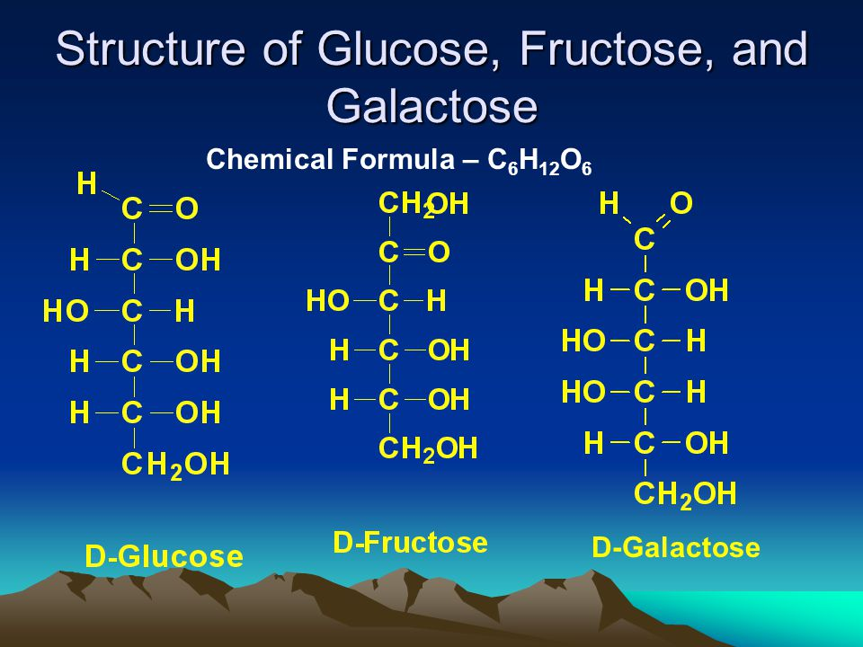 Structure of Glucose, Fructose, and Galactose Chemical Formula – C 6 H 12 O 6 D-Galactose