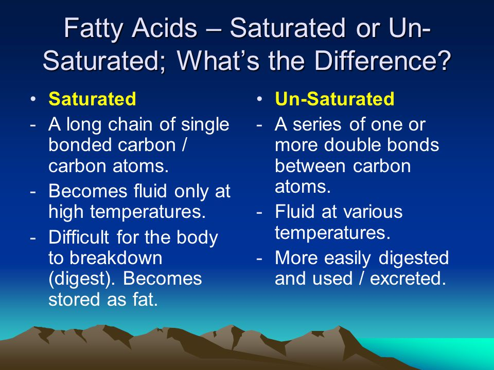 Fatty Acids – Saturated or Un- Saturated; What's the Difference.