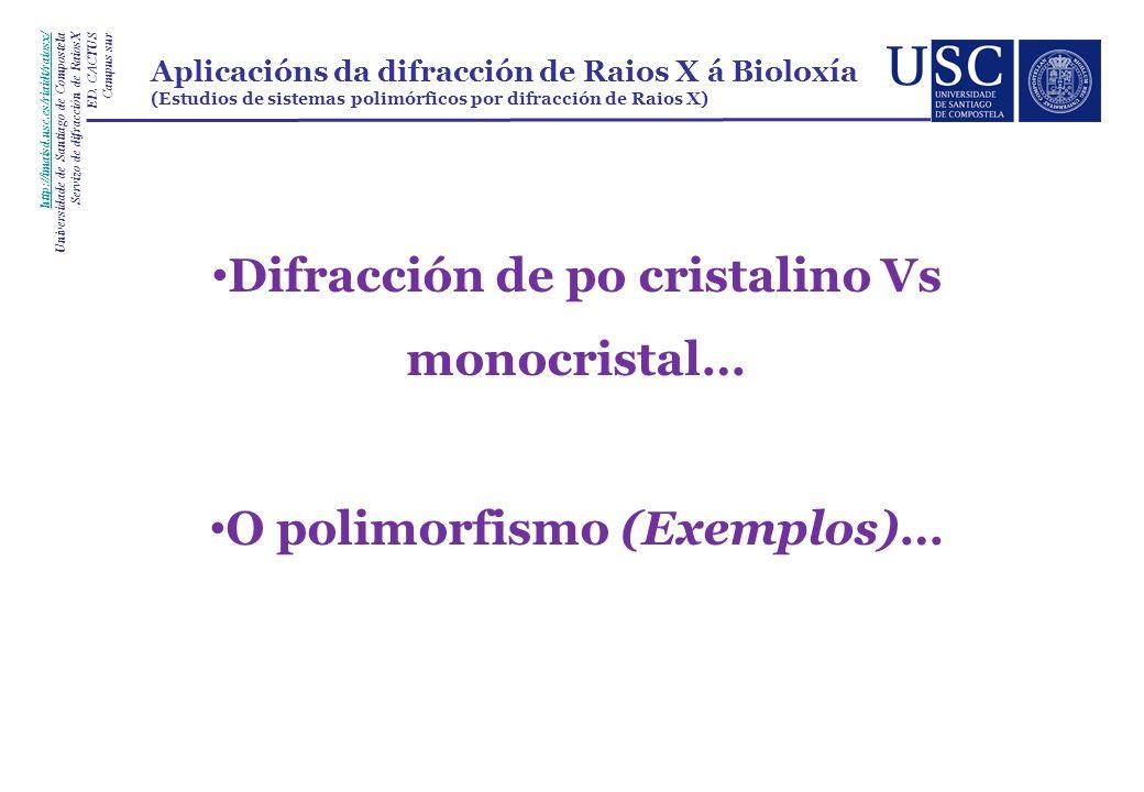 Difracción de po cristalino Vs monocristal… O polimorfismo (Exemplos)… http://imaisd.usc.es/riaidt/raiosx/ Universidade de Santiago de Compostela Servizo de difracción de RaiosX ED.