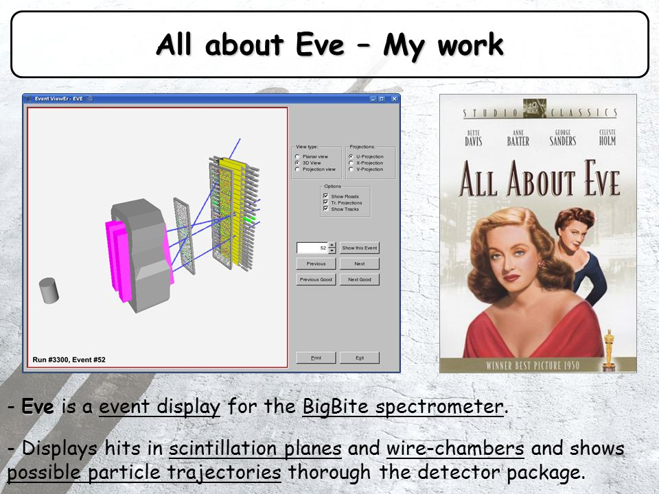 All about Eve – My work Eve - Eve is a event display for the BigBite spectrometer.