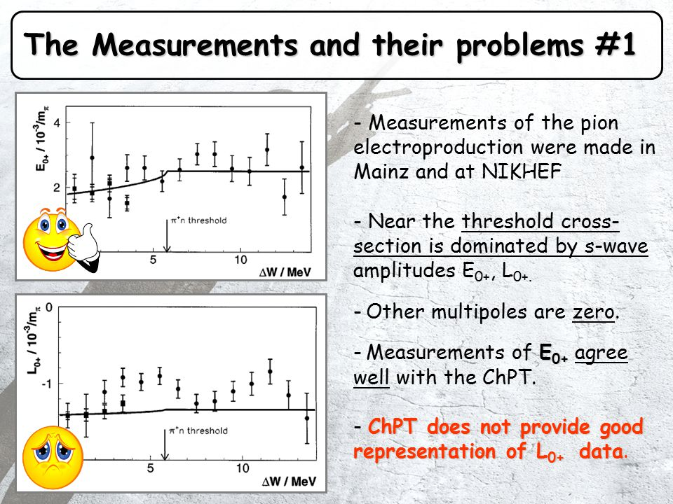 The Measurements and their problems #1 - Measurements of the pion electroproduction were made in Mainz and at NIKHEF - Near the threshold cross- section is dominated by s-wave amplitudes E 0+, L 0+.
