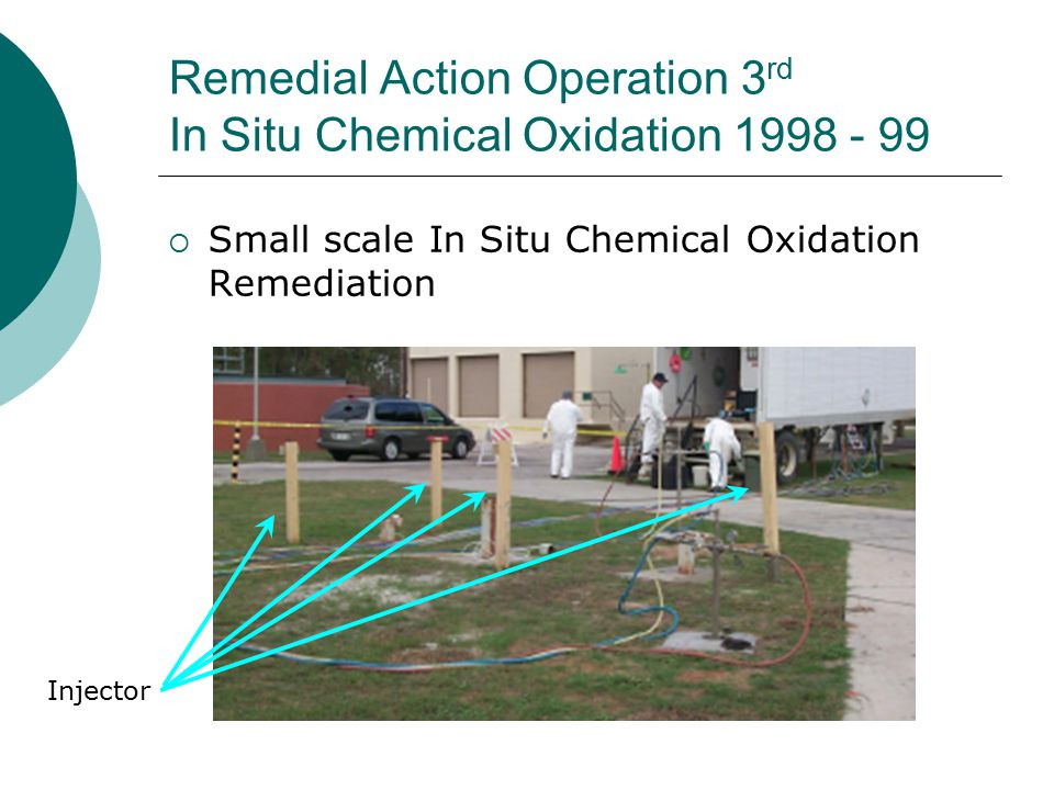 Remedial Action Operation 3 rd In Situ Chemical Oxidation 1998 - 99  Small scale In Situ Chemical Oxidation Remediation Injector