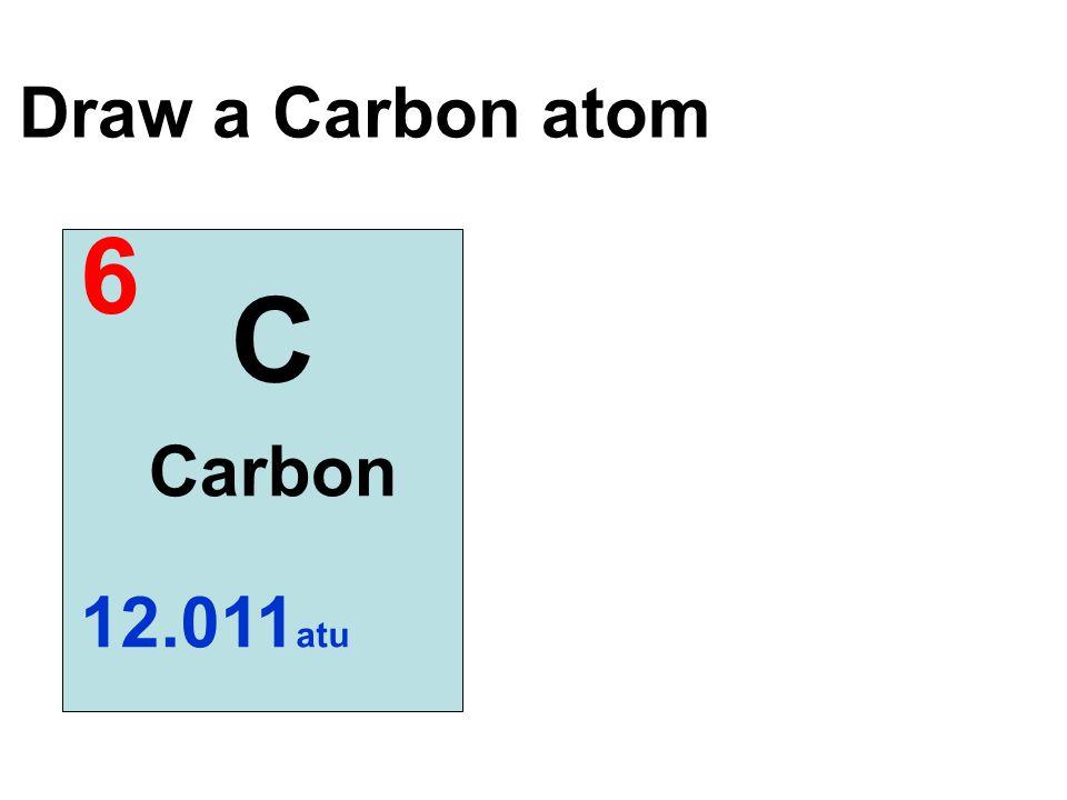 Draw a Carbon atom 6 C Carbon 12.011 atu