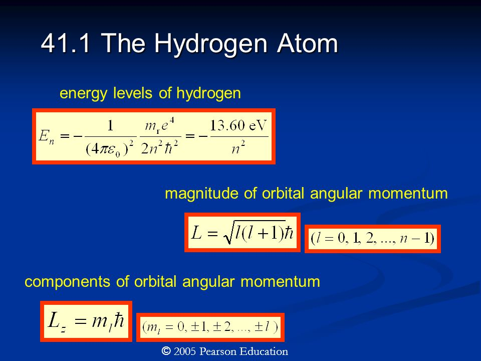 41.1 The Hydrogen Atom energy levels of hydrogen magnitude of orbital angular momentum components of orbital angular momentum © 2005 Pearson Education