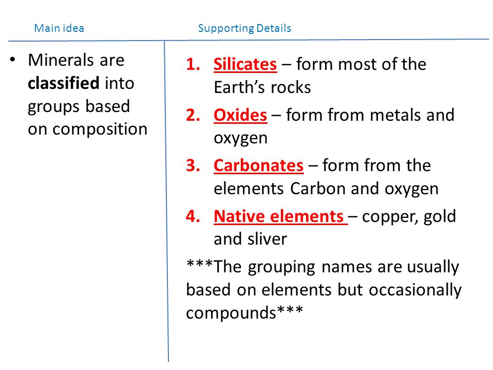 Minerals are classified into groups based on composition 1.Silicates – form most of the Earth's rocks 2.Oxides – form from metals and oxygen 3.Carbonates – form from the elements Carbon and oxygen 4.Native elements – copper, gold and sliver ***The grouping names are usually based on elements but occasionally compounds*** Main idea Supporting Details