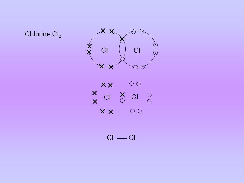 Covalent Bonds: Water H 2 O MethaneCH 4 AmmoniaNH 3 HydrogenH 2 Hydrogen ChlorideHCl OxygenO 2 N.B.