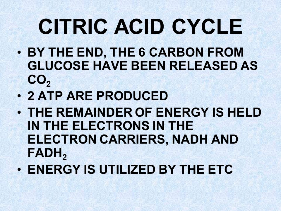 CITRIC ACID CYCLE BY THE END, THE 6 CARBON FROM GLUCOSE HAVE BEEN RELEASED AS CO 2 2 ATP ARE PRODUCED THE REMAINDER OF ENERGY IS HELD IN THE ELECTRONS