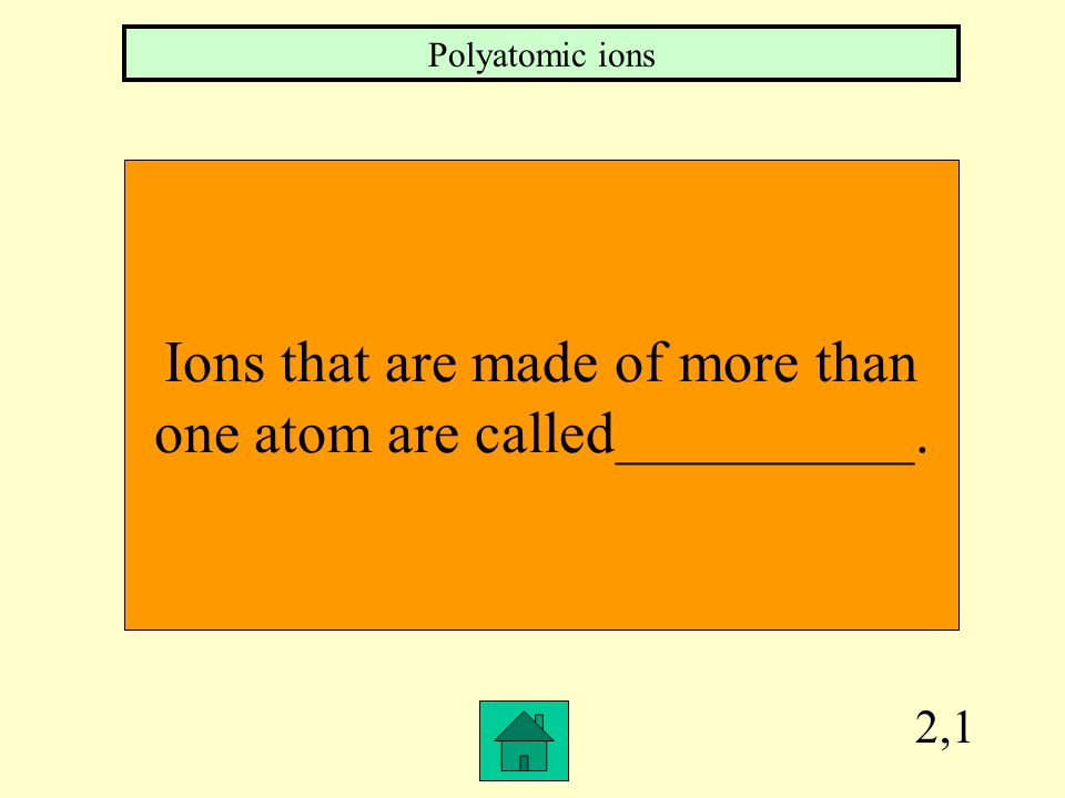 2,1 Ions that are made of more than one atom are called__________. Polyatomic ions