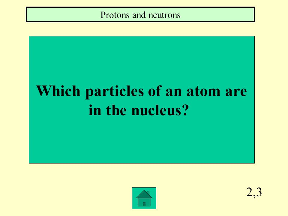 2,3 Which particles of an atom are in the nucleus? Protons and neutrons