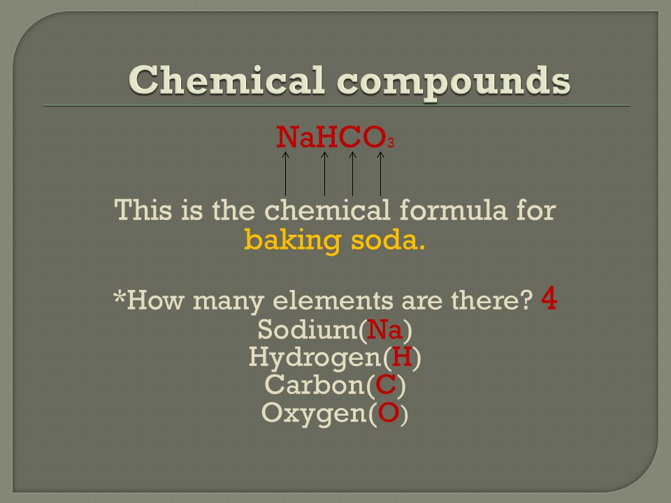 NaHCO 3 This is the chemical formula for baking soda.