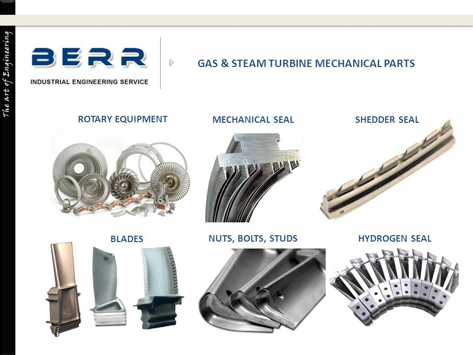The art of Engineering BLADES COMBUSTION PARTS BLADES NUTS, BOLTS, STUDSHYDROGEN SEAL GAS & STEAM TURBINE MECHANICAL PARTS