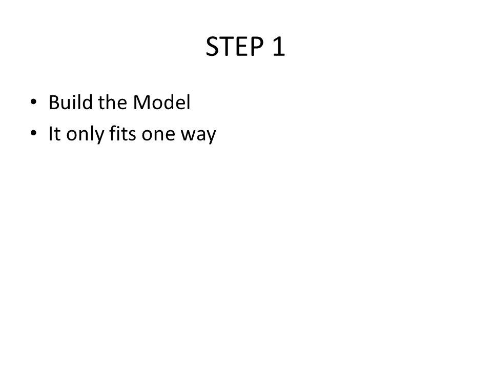 STEP 1 Build the Model It only fits one way