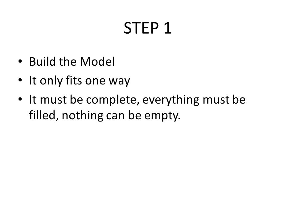 STEP 1 Build the Model It only fits one way It must be complete, everything must be filled, nothing can be empty.