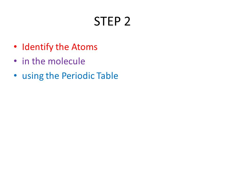STEP 2 Identify the Atoms in the molecule using the Periodic Table