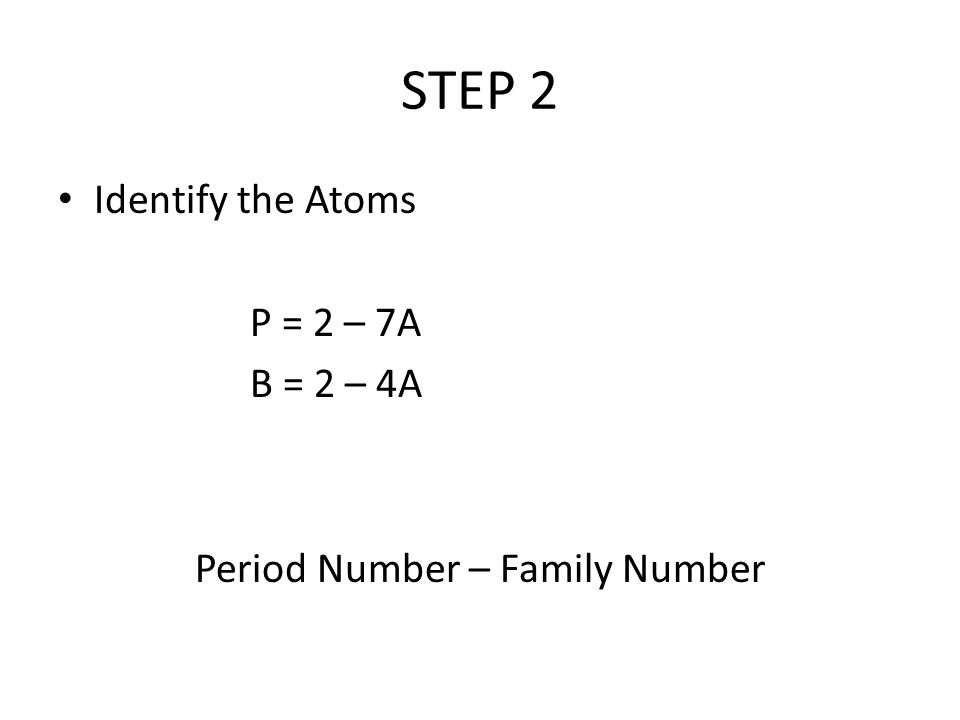 STEP 2 Identify the Atoms P = 2 – 7A B = 2 – 4A Period Number – Family Number