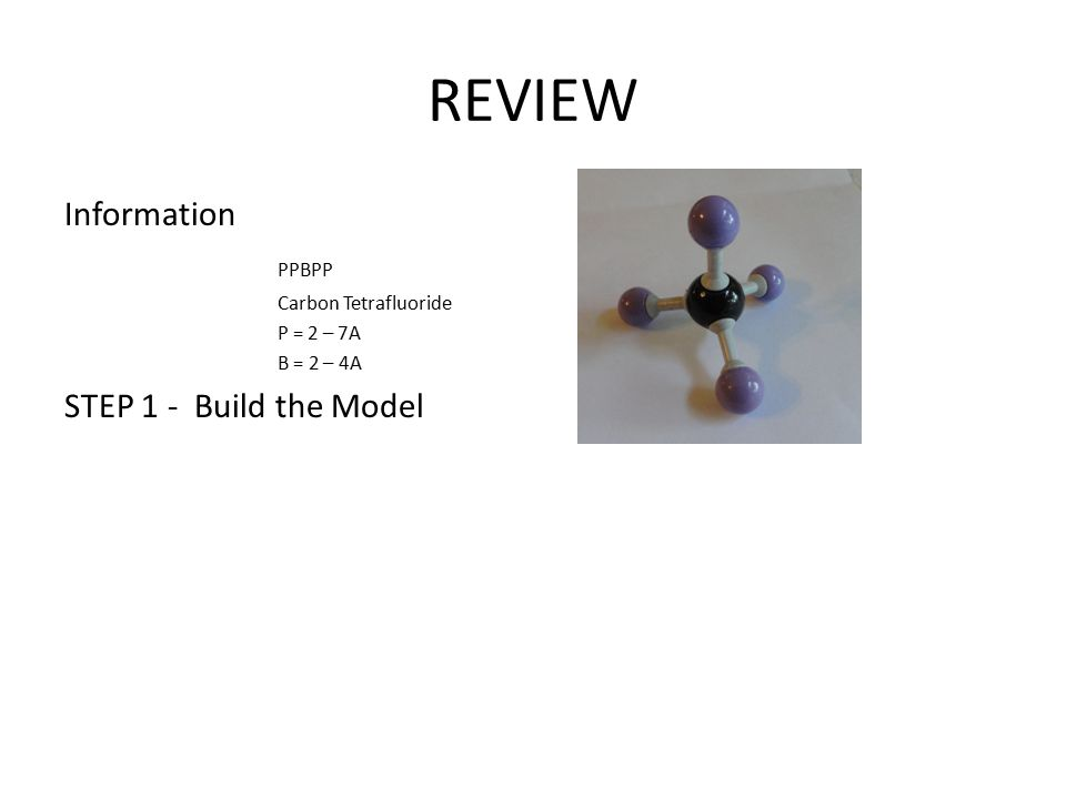 REVIEW Information PPBPP Carbon Tetrafluoride P = 2 – 7A B = 2 – 4A STEP 1 - Build the Model