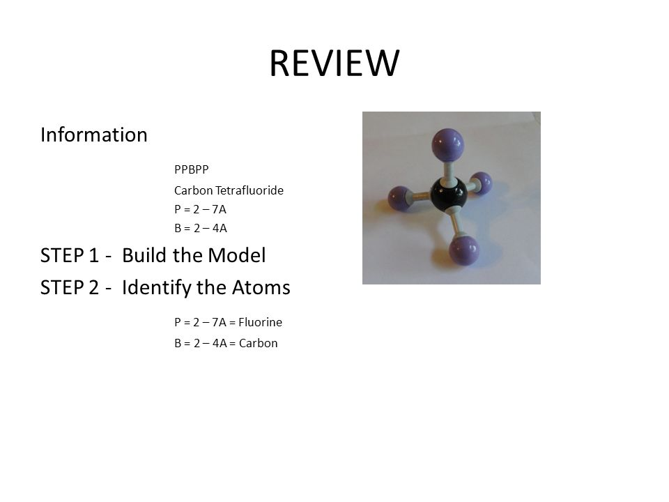 REVIEW Information PPBPP Carbon Tetrafluoride P = 2 – 7A B = 2 – 4A STEP 1 - Build the Model STEP 2 - Identify the Atoms P = 2 – 7A = Fluorine B = 2 –