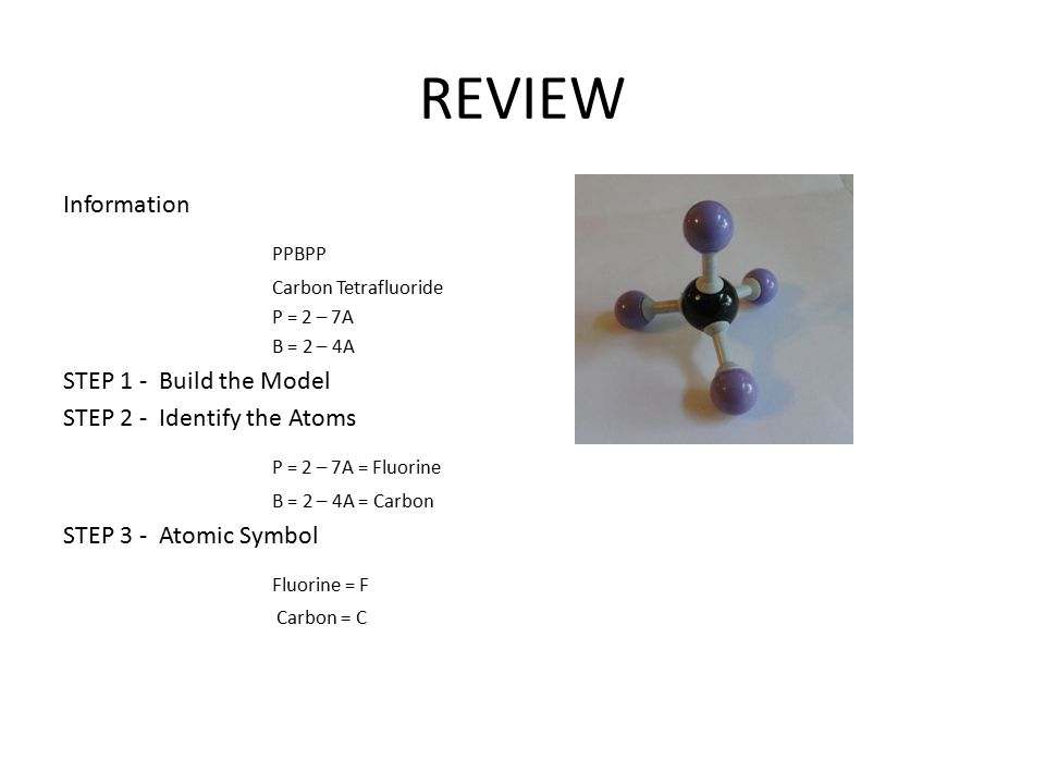 REVIEW Information PPBPP Carbon Tetrafluoride P = 2 – 7A B = 2 – 4A STEP 1 - Build the Model STEP 2 - Identify the Atoms P = 2 – 7A = Fluorine B = 2 – 4A = Carbon STEP 3 - Atomic Symbol Fluorine = F Carbon = C