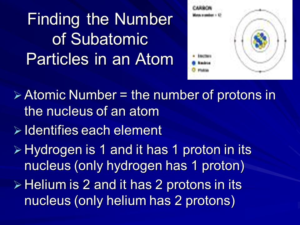 Finding the Number of Subatomic Particles in an Atom  Atomic Number = the number of protons in the nucleus of an atom  Identifies each element  Hydrogen is 1 and it has 1 proton in its nucleus (only hydrogen has 1 proton)  Helium is 2 and it has 2 protons in its nucleus (only helium has 2 protons)