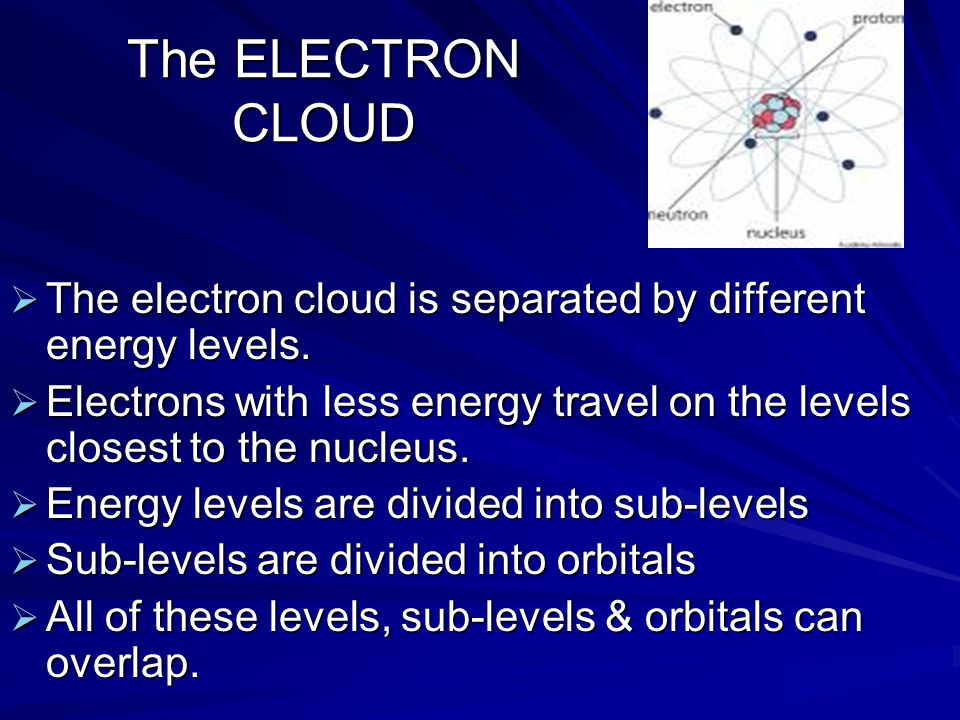 The ELECTRON CLOUD  The electron cloud is separated by different energy levels.