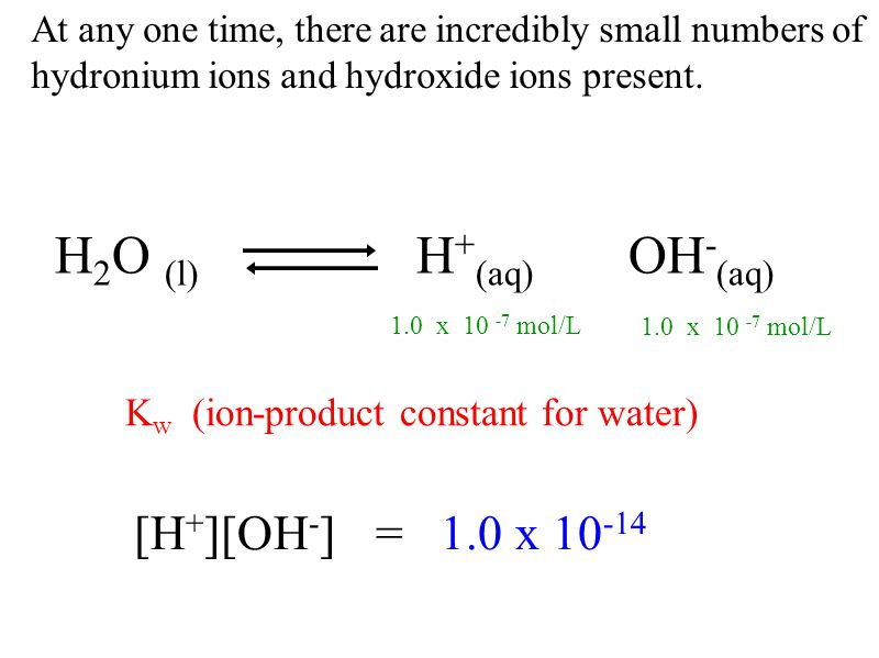 Acids / bases dissolve in water - increase [H + ] / [OH - ] and cause an equilibrium shift.