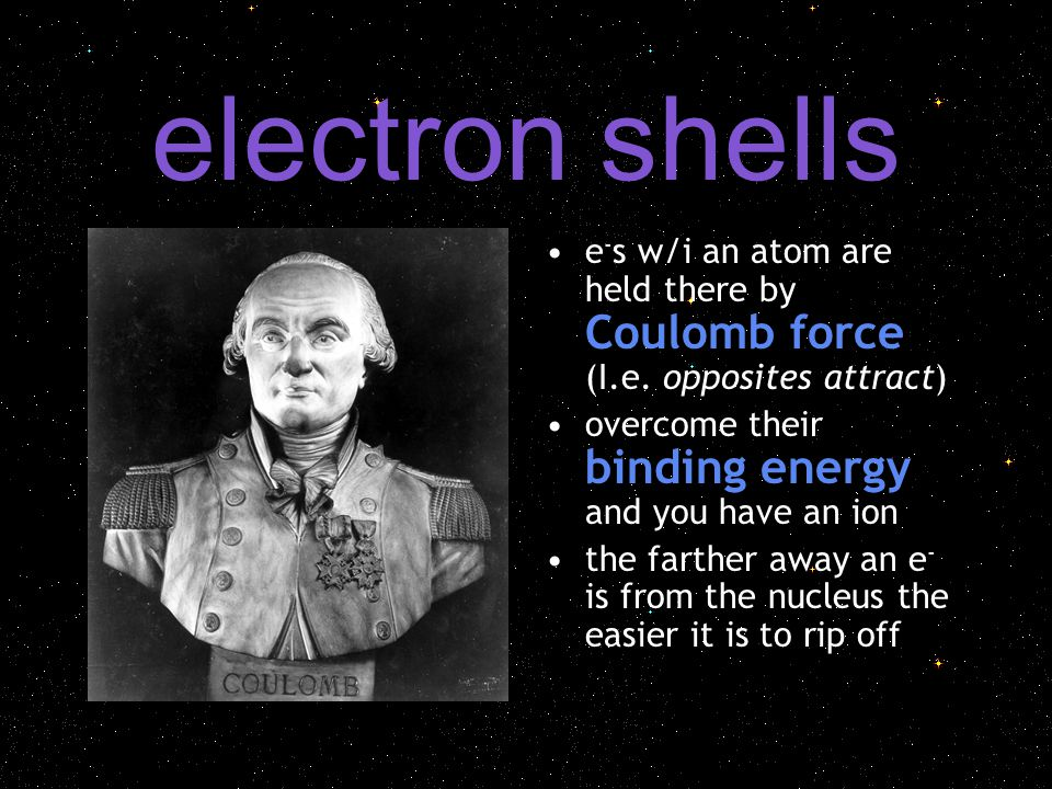 electron shells e - s w/i an atom are held there by Coulomb force (I.e.