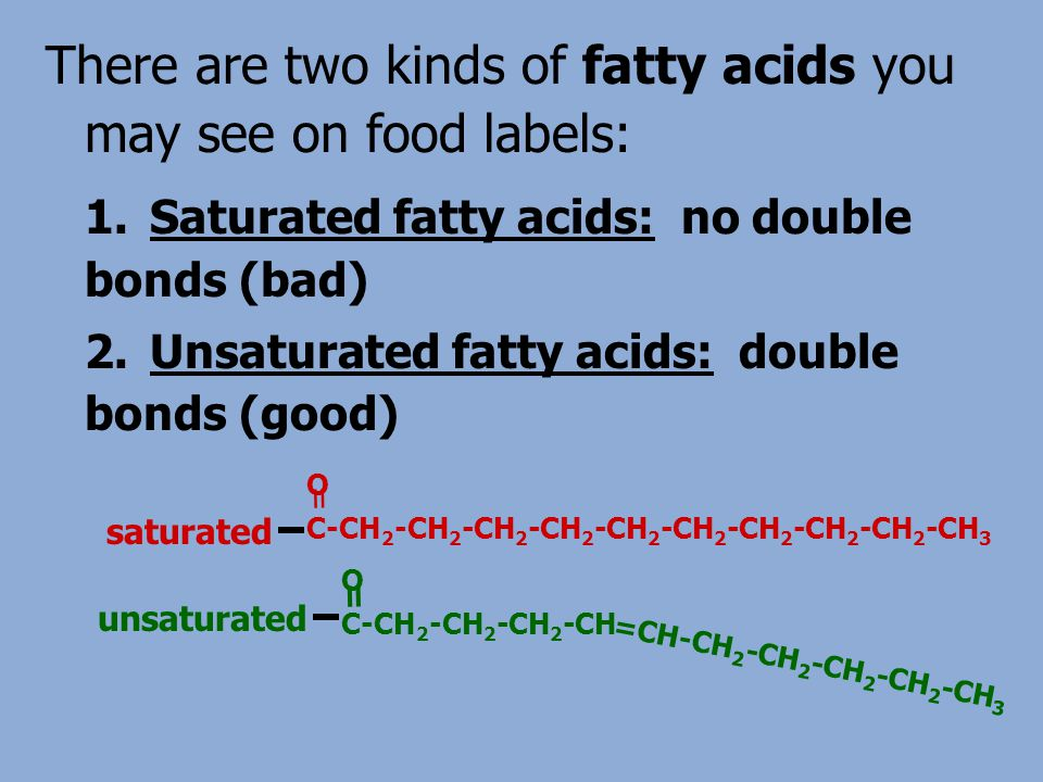 There are two kinds of fatty acids you may see on food labels: 1.Saturated fatty acids: no double bonds (bad) 2.Unsaturated fatty acids: double bonds (good) O C-CH 2 -CH 2 -CH 2 -CH 2 -CH 2 -CH 2 -CH 2 -CH 2 -CH 2 -CH 3 = saturated O C-CH 2 -CH 2 -CH 2 -CH =CH-CH 2 -CH 2 -CH 2 -CH 2 -CH 3 = unsaturated