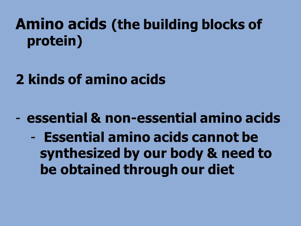 Amino acids (the building blocks of protein) 2 kinds of amino acids -essential & non-essential amino acids - Essential amino acids cannot be synthesized by our body & need to be obtained through our diet