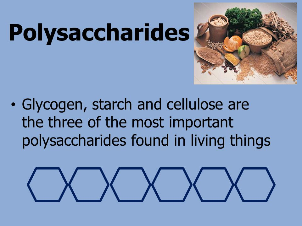 Polysaccharides Glycogen, starch and cellulose are the three of the most important polysaccharides found in living things