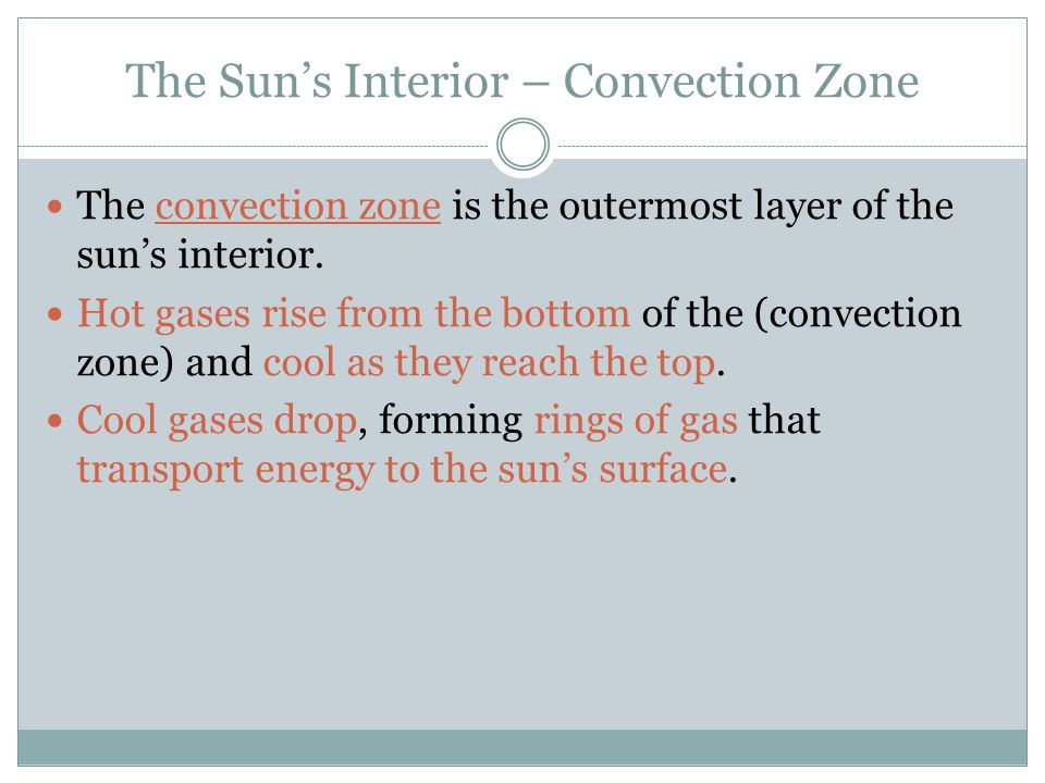 The Sun's Interior – Convection Zone The convection zone is the outermost layer of the sun's interior.