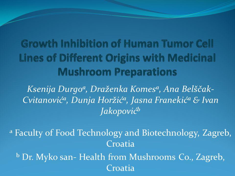 Ksenija Durgo a, Draženka Komes a, Ana Belščak- Cvitanović a, Dunja Horžić a, Jasna Franekić a & Ivan Jakopović b a Faculty of Food Technology and Biotechnology, Zagreb, Croatia b Dr.