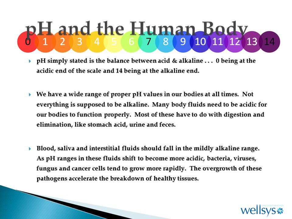  pH simply stated is the balance between acid & alkaline...