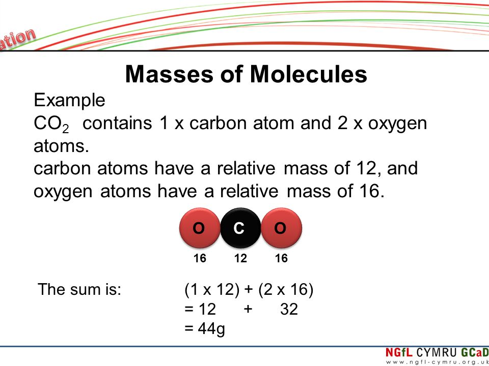 Masses of Molecules Example CO 2 contains 1 x carbon atom and 2 x oxygen atoms.
