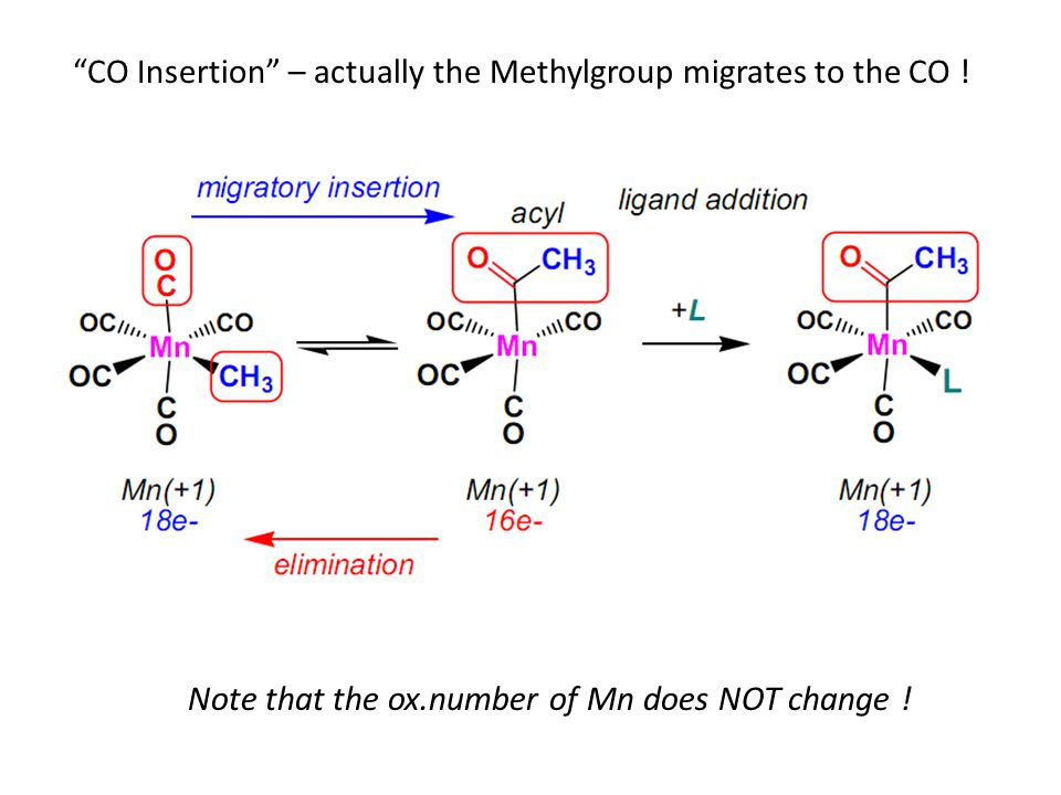 CO Insertion – actually the Methylgroup migrates to the CO .