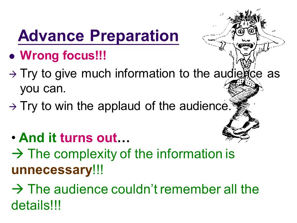 Advance Preparation Wrong focus!!.  Try to give much information to the audience as you can.