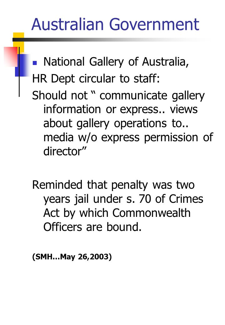 Australian Government National Gallery of Australia, HR Dept circular to staff: Should not communicate gallery information or express..