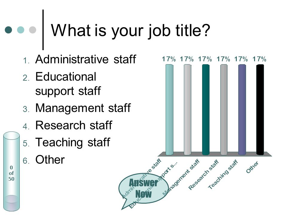 What is your job title. 1. Administrative staff 2.