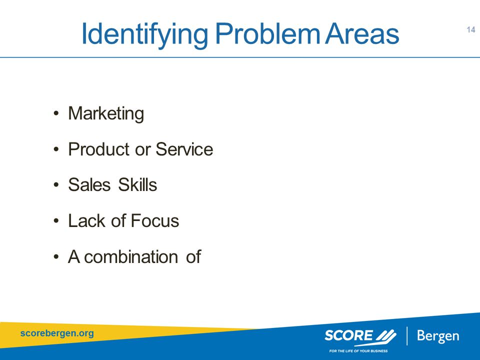Identifying Problem Areas Marketing Product or Service Sales Skills Lack of Focus A combination of 14