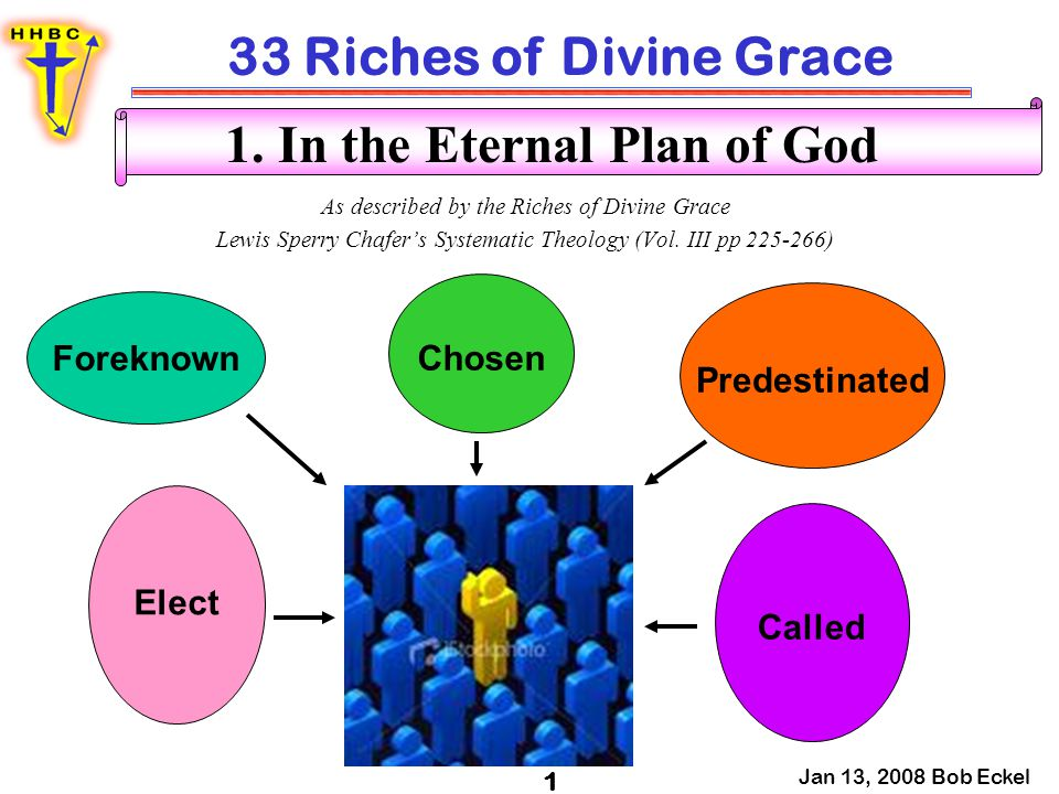 33 Riches of Divine Grace Jan 13, 2008 Bob Eckel 2 In the Eternal Plan of God Foreknow, proginōskō – to have knowledge beforehand –Rom 8:29 - For whom he did foreknow, he also did predestinate [to be] conformed to the image of his Son, that he might be the firstborn among many brethren.