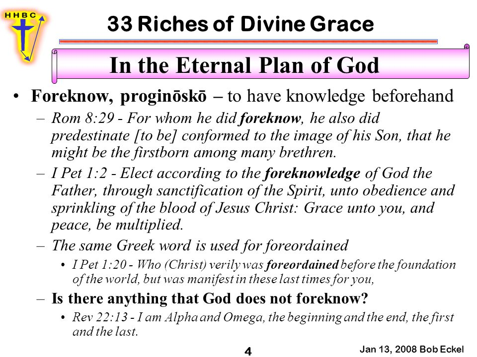 33 Riches of Divine Grace Jan 13, 2008 Bob Eckel 4 In the Eternal Plan of God Foreknow, proginōskō – to have knowledge beforehand –Rom 8:29 - For whom