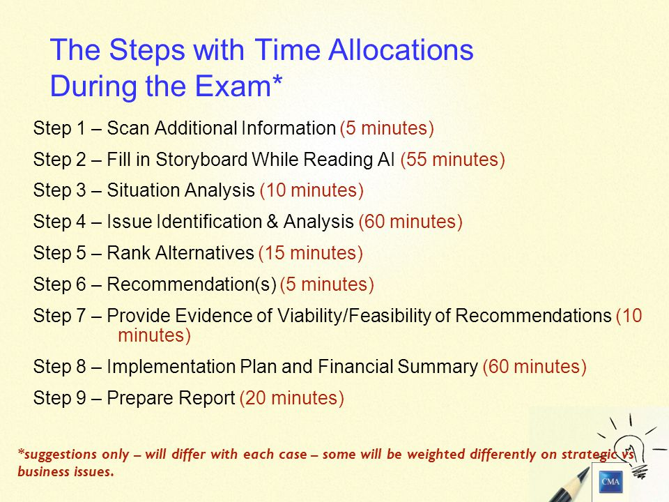 7 The Steps with Time Allocations During the Exam* Step 1 – Scan Additional Information (5 minutes) Step 2 – Fill in Storyboard While Reading AI (55 minutes) Step 3 – Situation Analysis (10 minutes) Step 4 – Issue Identification & Analysis (60 minutes) Step 5 – Rank Alternatives (15 minutes) Step 6 – Recommendation(s) (5 minutes) Step 7 – Provide Evidence of Viability/Feasibility of Recommendations (10 minutes) Step 8 – Implementation Plan and Financial Summary (60 minutes) Step 9 – Prepare Report (20 minutes) *suggestions only – will differ with each case – some will be weighted differently on strategic vs business issues.