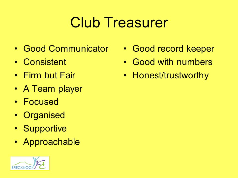 Club Treasurer Good Communicator Consistent Firm but Fair A Team player Focused Organised Supportive Approachable Good record keeper Good with numbers Honest/trustworthy