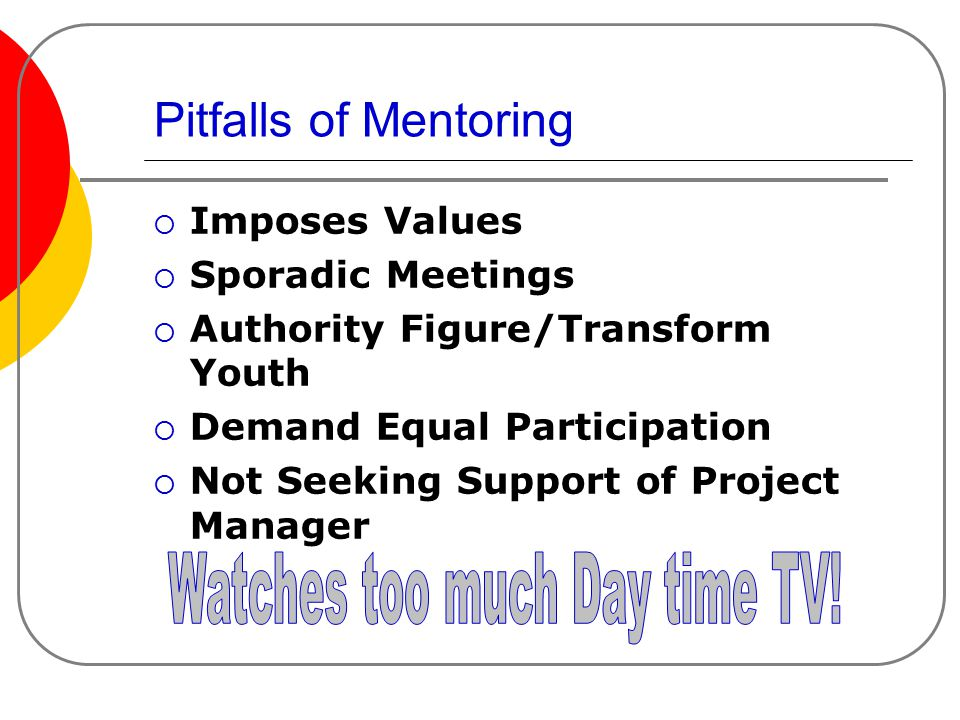 Pitfalls of Mentoring  Imposes Values  Sporadic Meetings  Authority Figure/Transform Youth  Demand Equal Participation  Not Seeking Support of Project Manager
