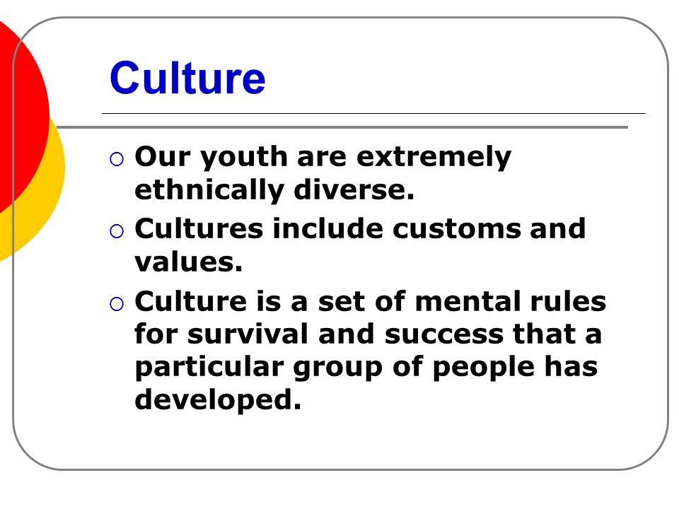Culture  Our youth are extremely ethnically diverse.