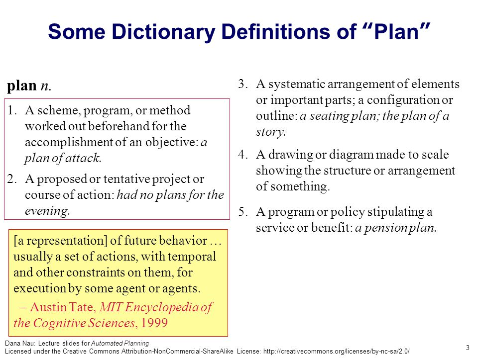 Dana Nau: Lecture slides for Automated Planning Licensed under the Creative Commons Attribution-NonCommercial-ShareAlike License: http://creativecommons.org/licenses/by-nc-sa/2.0/ 3 3.A systematic arrangement of elements or important parts; a configuration or outline: a seating plan; the plan of a story.