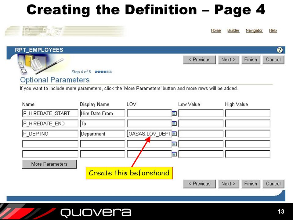 13 Creating the Definition – Page 4 Create this beforehand