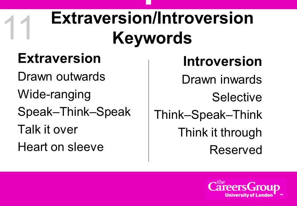 11 Extraversion/Introversion Keywords Extraversion Drawn outwards Wide-ranging Speak–Think–Speak Talk it over Heart on sleeve Introversion Drawn inwards Selective Think–Speak–Think Think it through Reserved