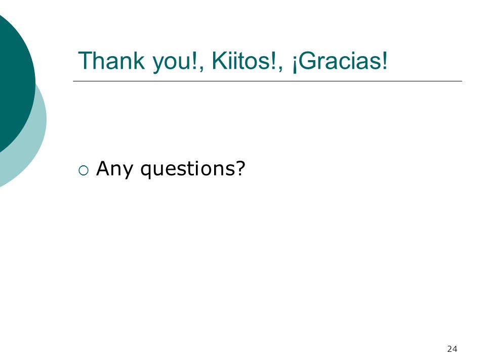 24 Thank you!, Kiitos!, ¡Gracias!  Any questions?