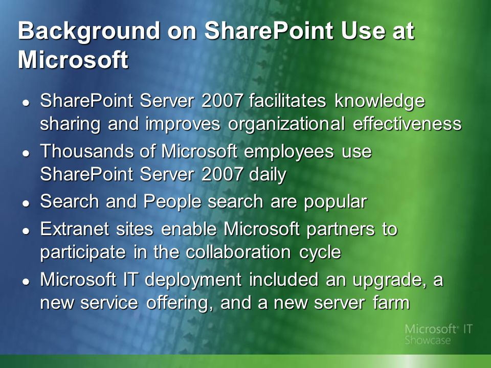 Preparing the Environment ● Optimizing the infrastructure made upgrades easier to perform and helped maximize hardware consolidation ● Microsoft IT: ● Performed a thorough audit ● Balanced content loads among databases ● Merged and split databases ● Consolidated server farms ● Used the prescan tool
